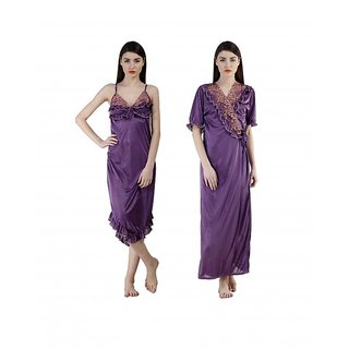 Fashion Zilla Purple Satin Designer Floral Nighty With Gown Set