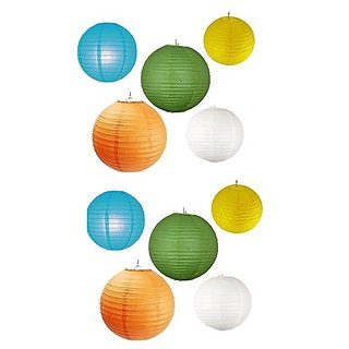 Round Paper Lantern 8 inch Assorted Color (pack-10)
