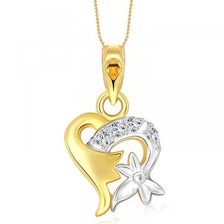 Vighnaharta Sweet Flory Heart Gold and Rhodium Plated Pendant - VFJ1103PG