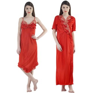 Fashion Zilla Red Satin Designer Floral Nighty With Gown Set
