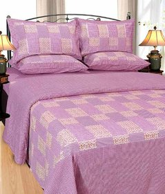 Shiv Fabs Check Floral Bedsheets with 2 Pillow Covers ( CHECK5 )