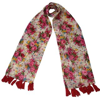 HVE Floral Print Voile Womens Scarf