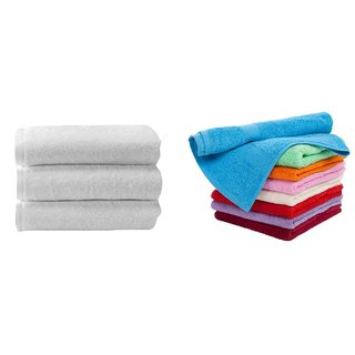 Iliv Cotton Blue,White,Red Face Towels (6X9 Inch) Combo Of 6