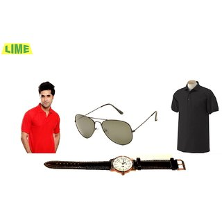 Combo Of Black Polo T Shirt And Red Polo T Shirt With Free Sunglass And Watch