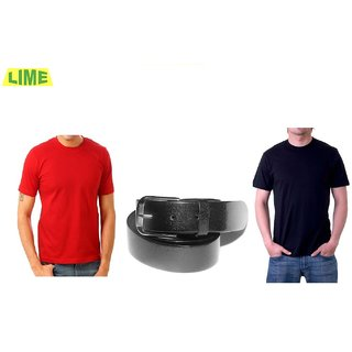 Combo Of Black Round T Shirt And Red Round T Shirt With Genune Leather Belt