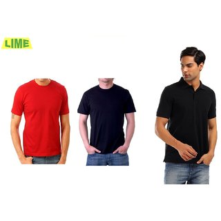 Set Of Black Round T Shirt, Black Polo T Shirt And Red Round T Shirt