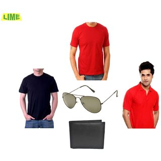 Set Of Black & Red Round T-Shirts With Red Polo T Shirt & Sunglass & Wallet