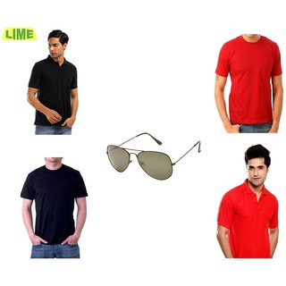 Set Of Black & Red Polo & Round T-Shirts With Free Sunglass