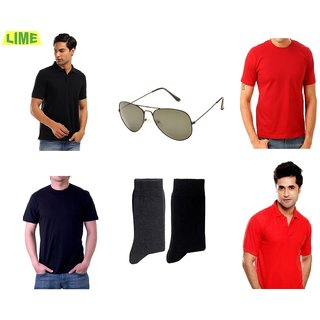 Set Of Black & Red Polo & Round T-Shirts With Free Sunglass & 2 Pair Of Socks