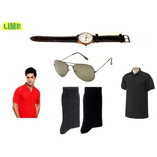 Set Of Black & Red Polo T-Shirt With Free Sunglass, Watch & 2 Pair Of Socks