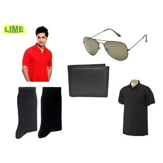 Black & Red Polo T Shirt With Free Sunglass, Wallet & 2 Pair Of Socks