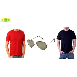 Combo Of Black Round T Shirt And Red Round T Shirt With Free Sunglass