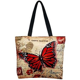 Lushomes Big Butterfly Digital Printed Polyester Tote