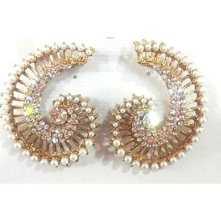 Sajna Store Party Wear Crystal Yellow Color Earrings