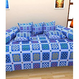 Akash Ganga Blue Cotton Diwan Set (Pack of 8) (K6)
