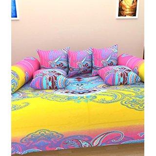 Akash Ganga Cotton Multi-Colour Diwan Set (Set of 8) (K8)