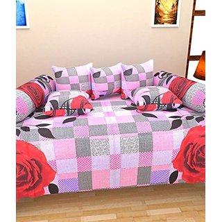 Akash Ganga Cotton Multi-Colour Diwan Set (Pack of 8) (K9)