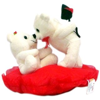 Valentine White Kissing Teddy Couple- 20 cm