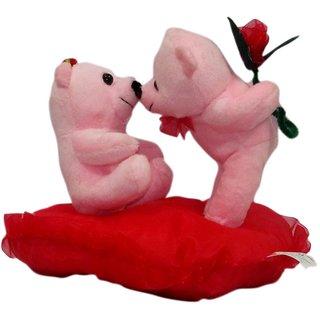 Valentine Pink Kissing Teddy Couple- 20 cm