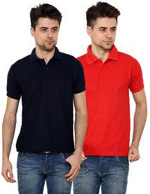 Grand Bear Men'S Red Polo Neck T-Shirt (Pack Of 2)