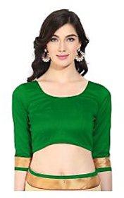 Triveni Pleasing Green Art Silk Readymade Blouse With Backstring and Latkan