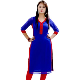 Envy Blue Red Solid Pure Georgette Ladies Kurti