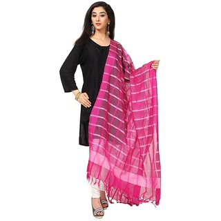 Kataan Bazaar Checkered Pink Banarasi Dupatta