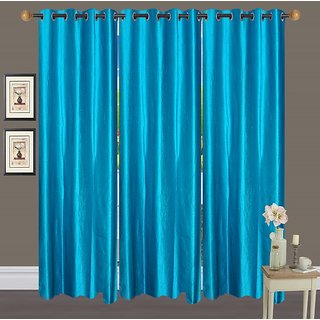 Deepansi Handloom Plain Crush Sky Blue Color  Window  Curtain(set of 3)-5feet