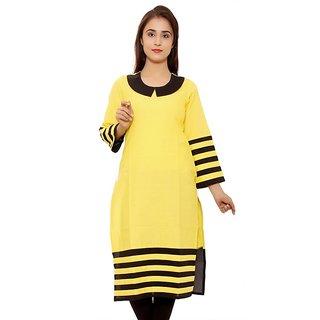 Envy Yellow Round Neck Cotton Ladies Kurti