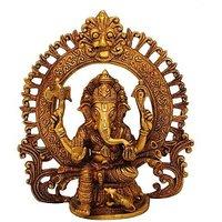 Ganesha With Ring White Showpiece - 22.86 Cm
