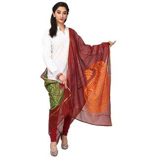 Kataan Bazaar Jute Paisley Maroon Banarasi Dupatta
