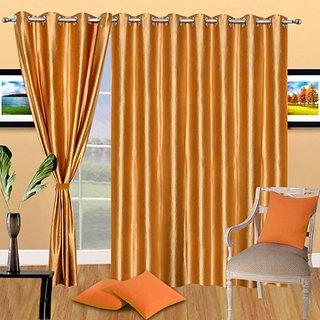 Deepansi Handloom Plain Golden Crush Long Door Curtain(set of 3)-9feet