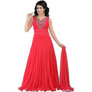 Venus Red Embroidered Long Anarkali Womens Sleeveless Dress