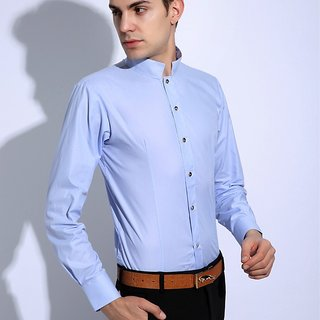New Spring Long Sleeve Men Shirt Solid Mandarin Collar Formal Casual Male