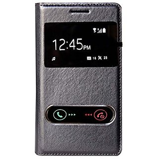Snaptic Hi Grade Black Leather S View Flip Cover for Samsung Galaxy S Duos S7562