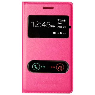 Snaptic Hi Grade Pink Leather S View Flip for Samsung Galaxy S Duos 2 S7582