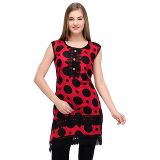 Sukuma Red Dotted Viscose Stitched Kurti
