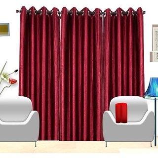 Deepansi Handloom Plain Crush Pink Color  window Curtain(set of 3)-5feet