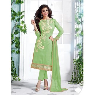 Thankar Heavy Green Chanderi Cotton Salwar Kameez