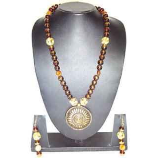 Golden Glass Beads  Necklaces with Earring