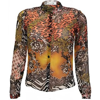 Attuendo Womens Printed Exotic wildlife, flora and paisley  Casual Shirt