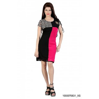 FashionVerb Printed Magenta  Black Georgette Dress