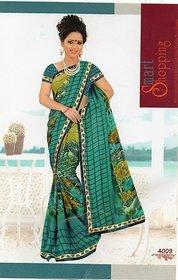 Laxmi Green Chiffon Printed Saree With Blouse