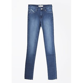 Lee Skinny Fit Fit  Cotton, Spandex Low Rise Buttoned Solid Casual Womens Jeans