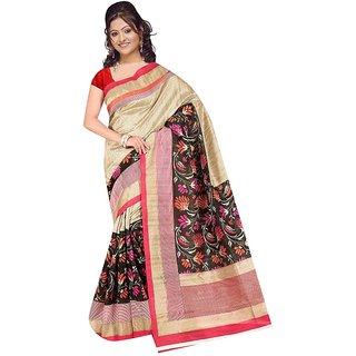 Fabplus Multicolor Linen Floral Saree Without Blouse