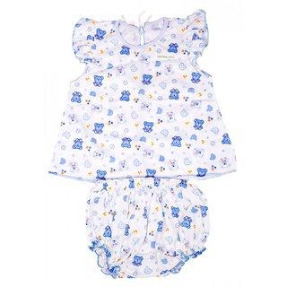 Baby Joy New Just Born Girl Zabla/Jabla Hosiery frock Dress with bottom Nappy