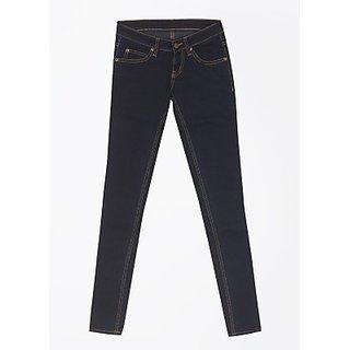 Lee Slim Fit Fit  Cotton Blend Denim Solid Casual Black Womens Jeans