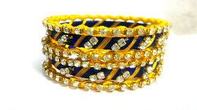 blue and yellow different shape  Metal and stone shining Kundan Bangle set