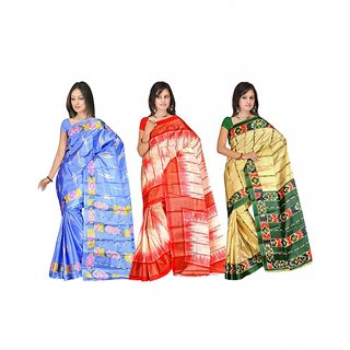 Shopeezo Daily Wear Blue,Red and White, Green and Beige Color Art Silk Saree