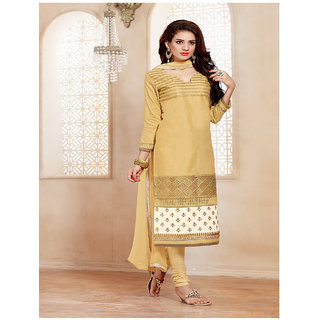 Fabliva New Designer Embroidered Beige Straight Suits (Unstitched)
